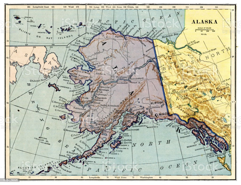 Map of Alaska 1889 vector art illustration