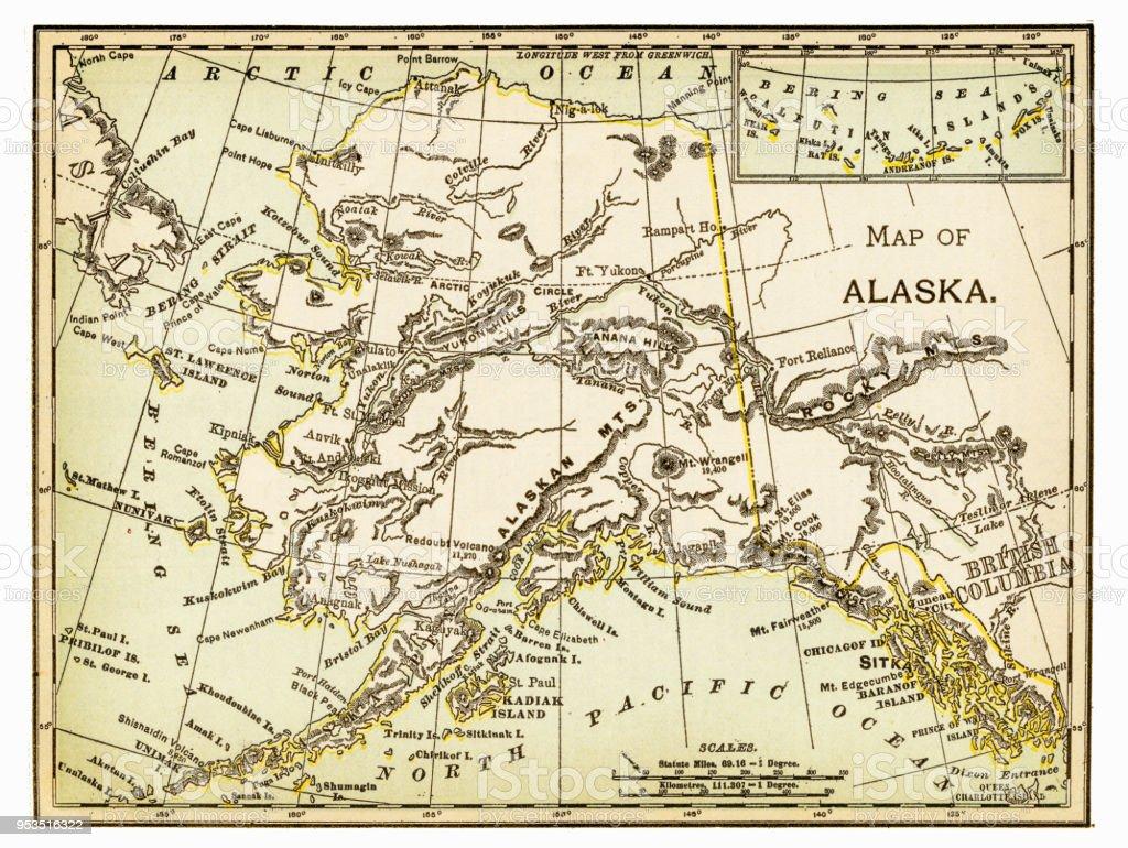 Map of Alaska 1893 vector art illustration