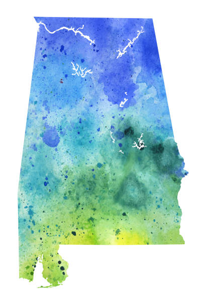 map of albama with watercolor texture - raster illustration - alabama stock illustrations