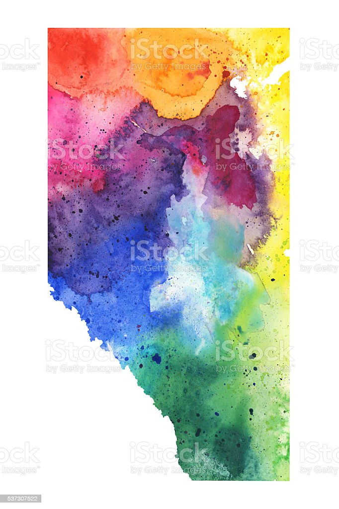 Map of Alberta with Watercolor Texture - Raster Illustration vector art illustration