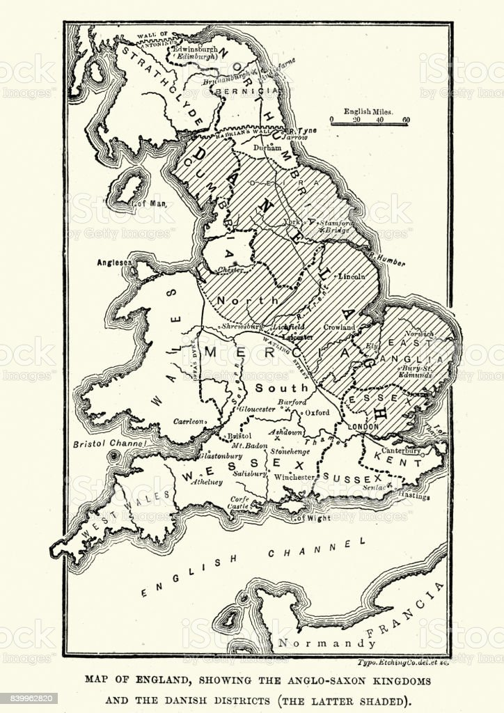 Map of Anglo-Saxon Kingdoms and the Danelaw, 9th Century vector art illustration