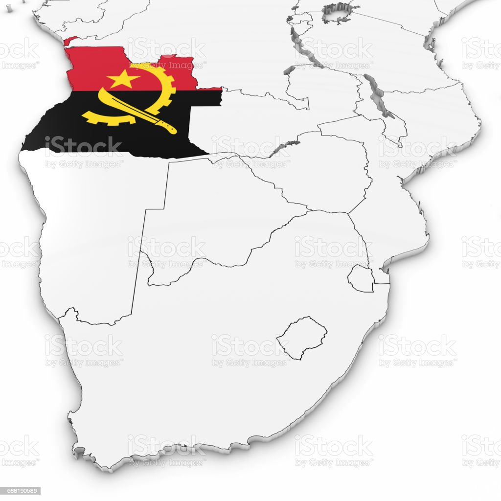 3d map of angola with angolan flag on white background 3d 3d map of angola with angolan flag on white background 3d illustration royalty free 3d gumiabroncs Choice Image