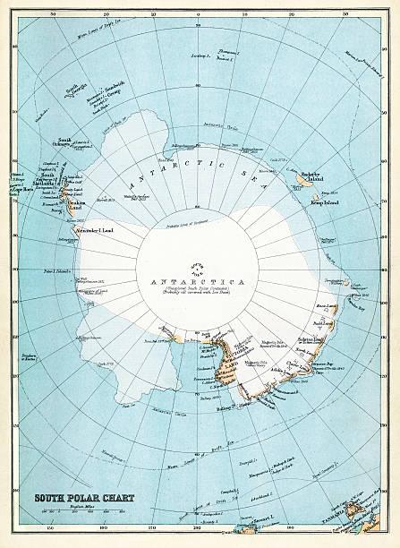 ilustraciones, imágenes clip art, dibujos animados e iconos de stock de mapa de antártida - mapa de antártida