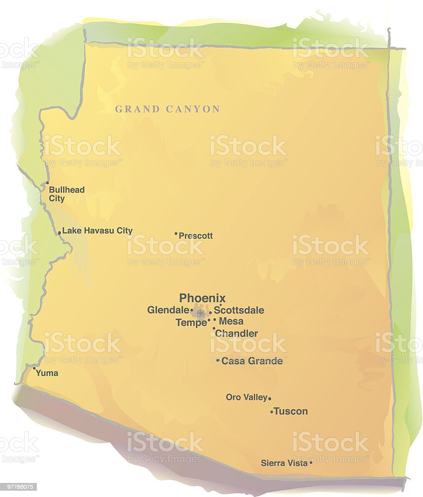 Map of Arizona - Watercolor style royalty-free stock vector art