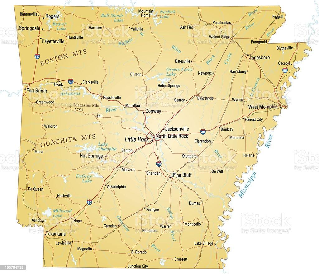 Map of Arkansas vector art illustration
