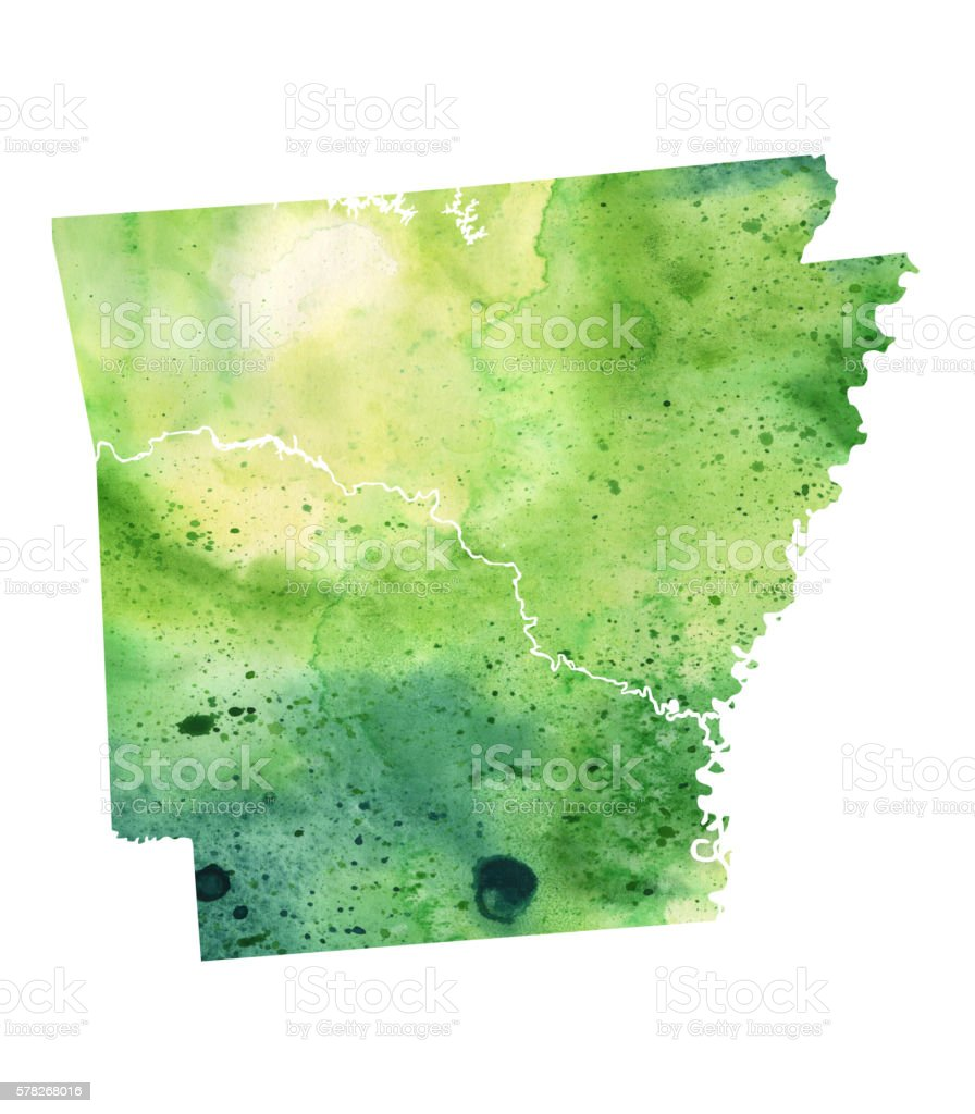 Map of Arkansas with Watercolor Texture - Raster Illustration vector art illustration