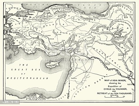 Vintage engraving of the ancient asia minor showing the expedition of Cyrus the Younger and the retreat of Xenophon's Ten Thousand. Xenophon was a Greek historian, soldier, and mercenary. His youthful participation in the failed campaign of Cyrus the Younger to claim the Persian throne inspired him to write his most famous work, Anabasis.