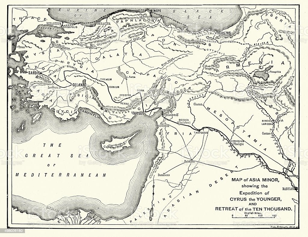 Map of Asia Minor showing Xenophon retreat vector art illustration