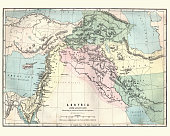 Vintage engraving of a Map of Assyria illustrating the biblical Patriarchal Age