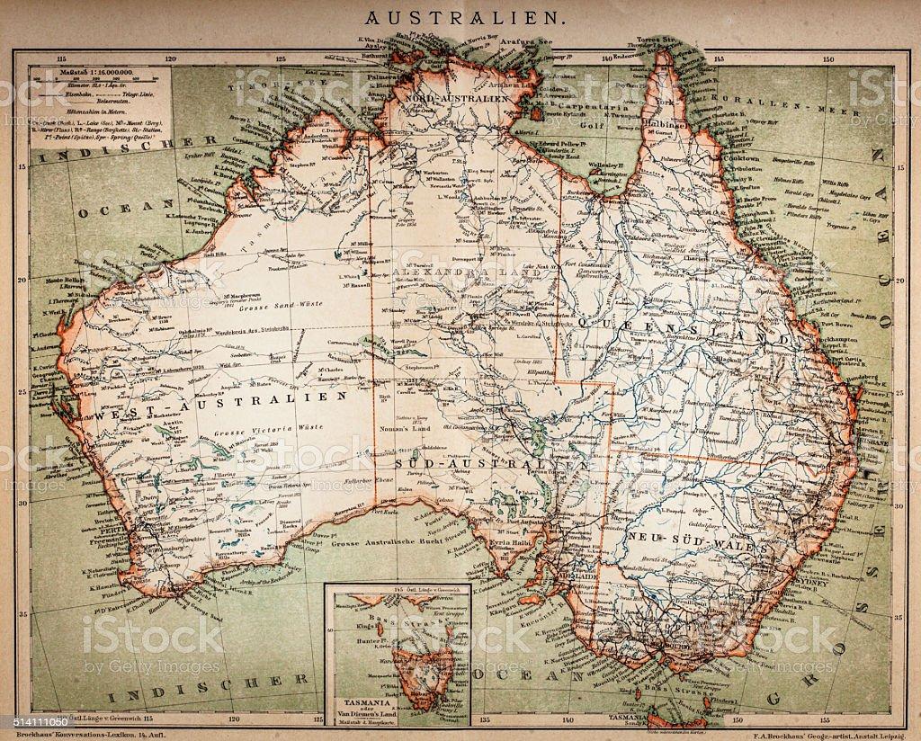 Map of Australasia (1898 engraving) vector art illustration
