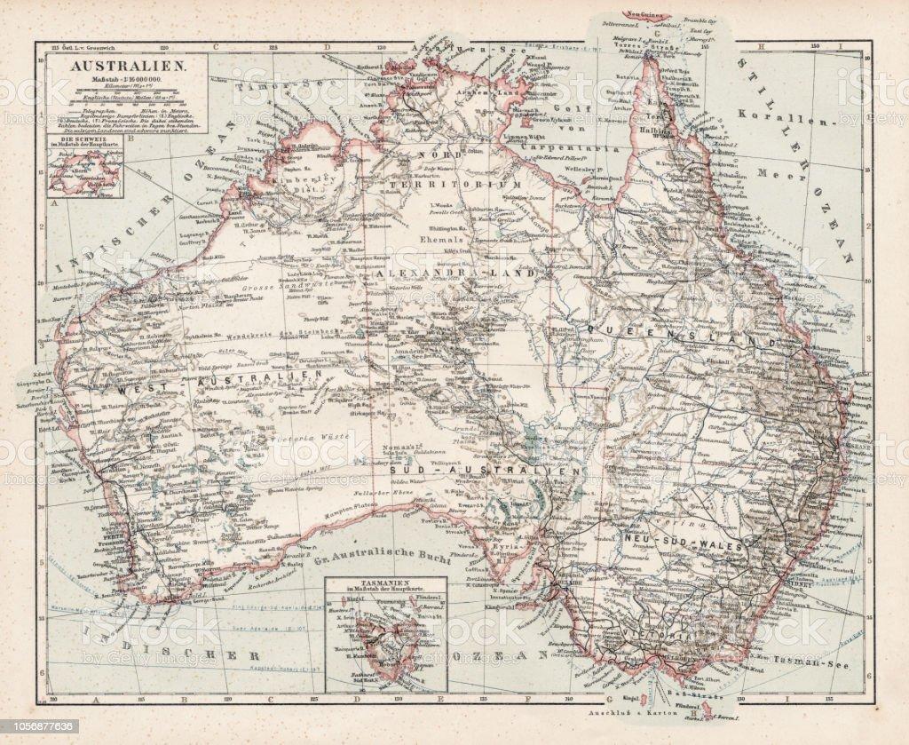Australia Map 1900.Map Of Australia 1900 Stock Illustration Download Image