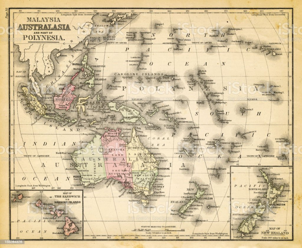 Carte Australie Malaisie.Carte De Laustralie De Malaisie Et Polynesie Francaise