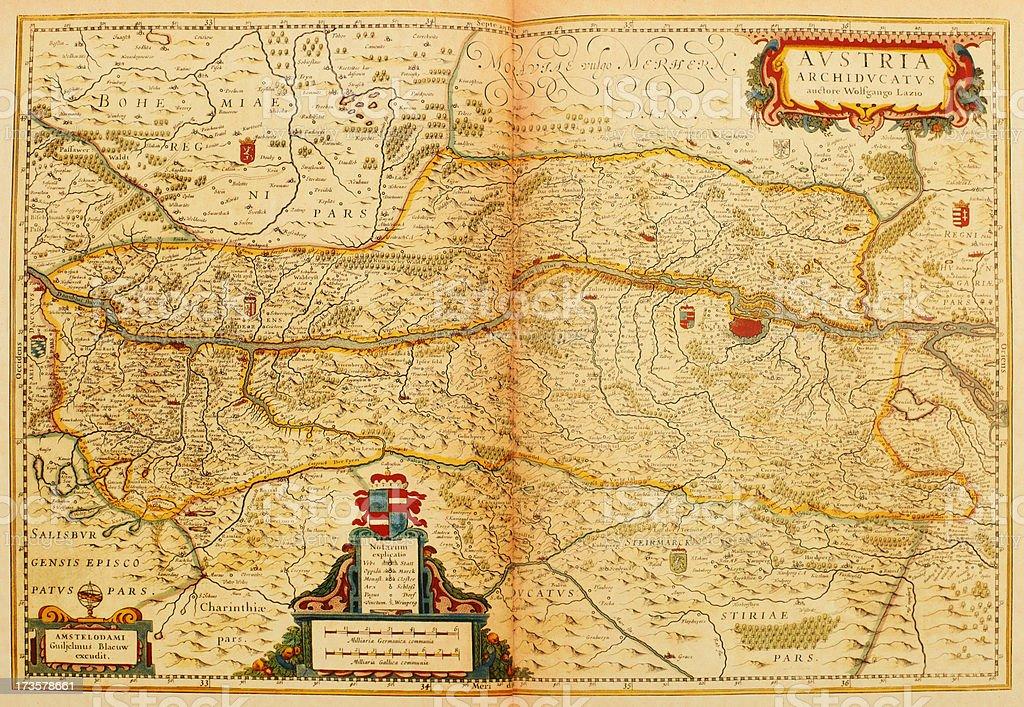 Map of Austria 1635 vector art illustration