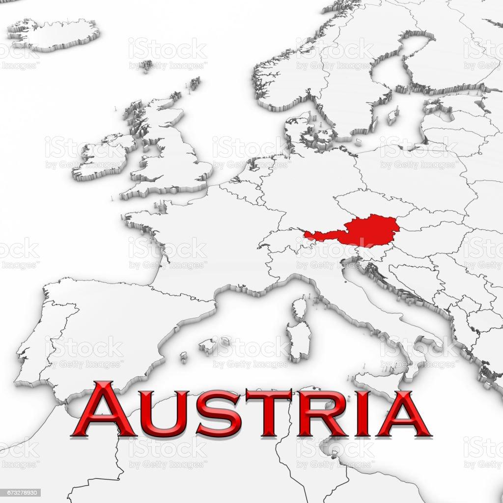 3d Karte Osterreich.3d Karte Von Osterreich Mit Land Nennen Rot Markiert Auf