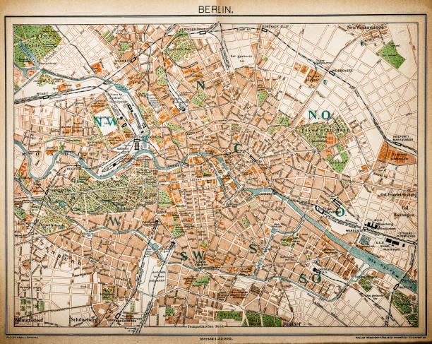 bildbanksillustrationer, clip art samt tecknat material och ikoner med karta över berlin 1893 - berlin street