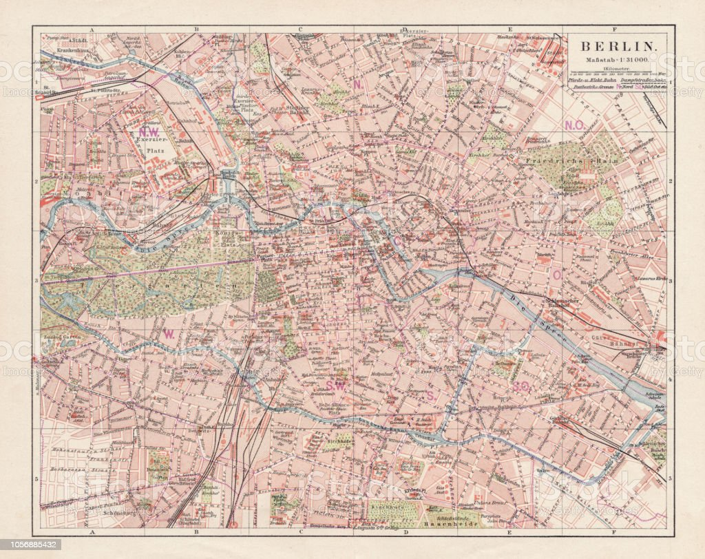 Map Of Germany 1900.Map Of Berlin 1900 Stock Illustration Download Image Now Istock