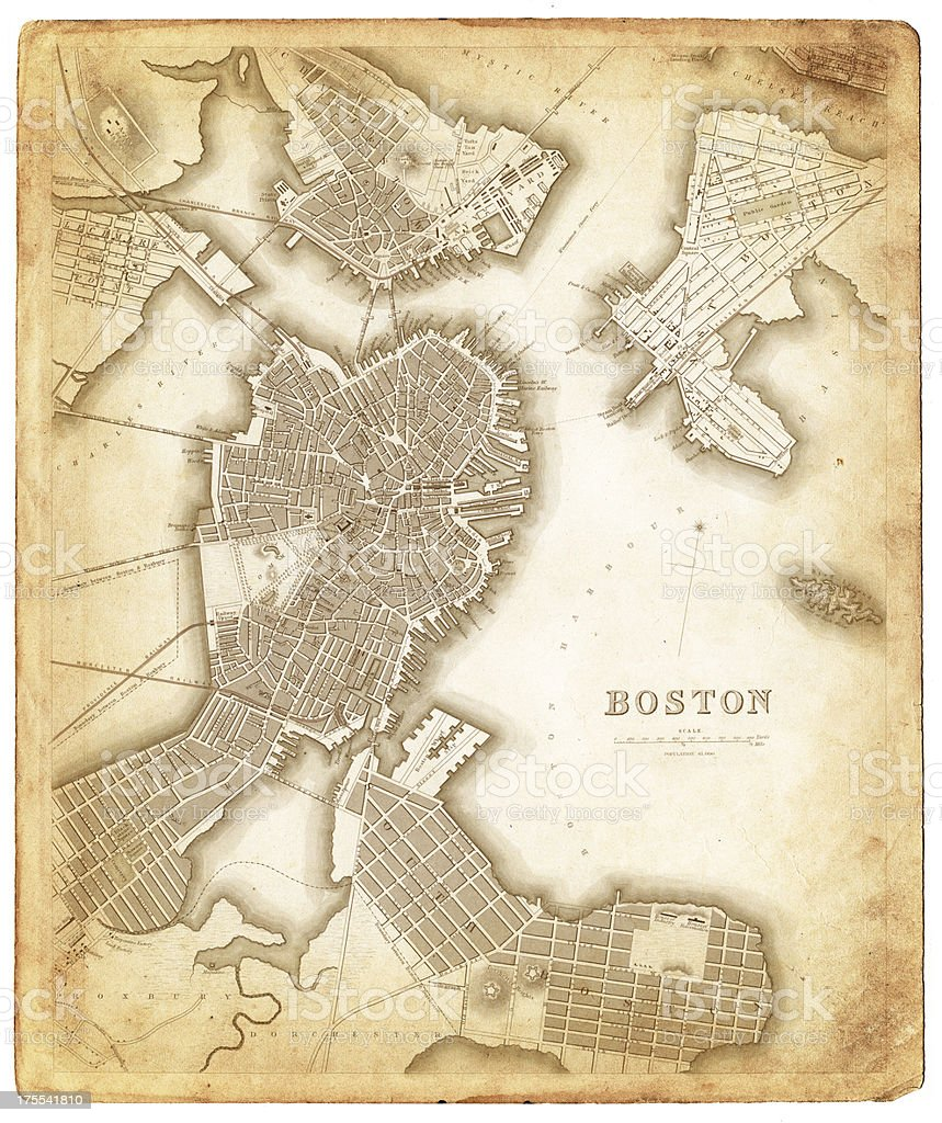 Map Of Boston 1842 Stock Vector Art & More Images of Antique ...