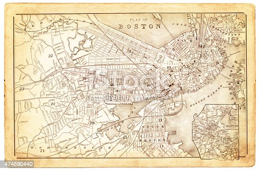 Map of the city of Boston 18480 overlay with a couple of vintage paper textures