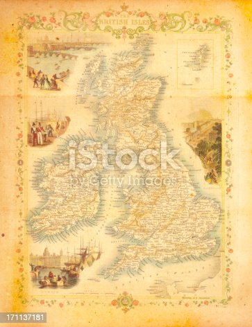 Antique map of Britain. Published by the J.Tallis and Sons, London and New York, 1851. Photo by N. Staykov (2008)Click on thumbnails below for more UK maps: