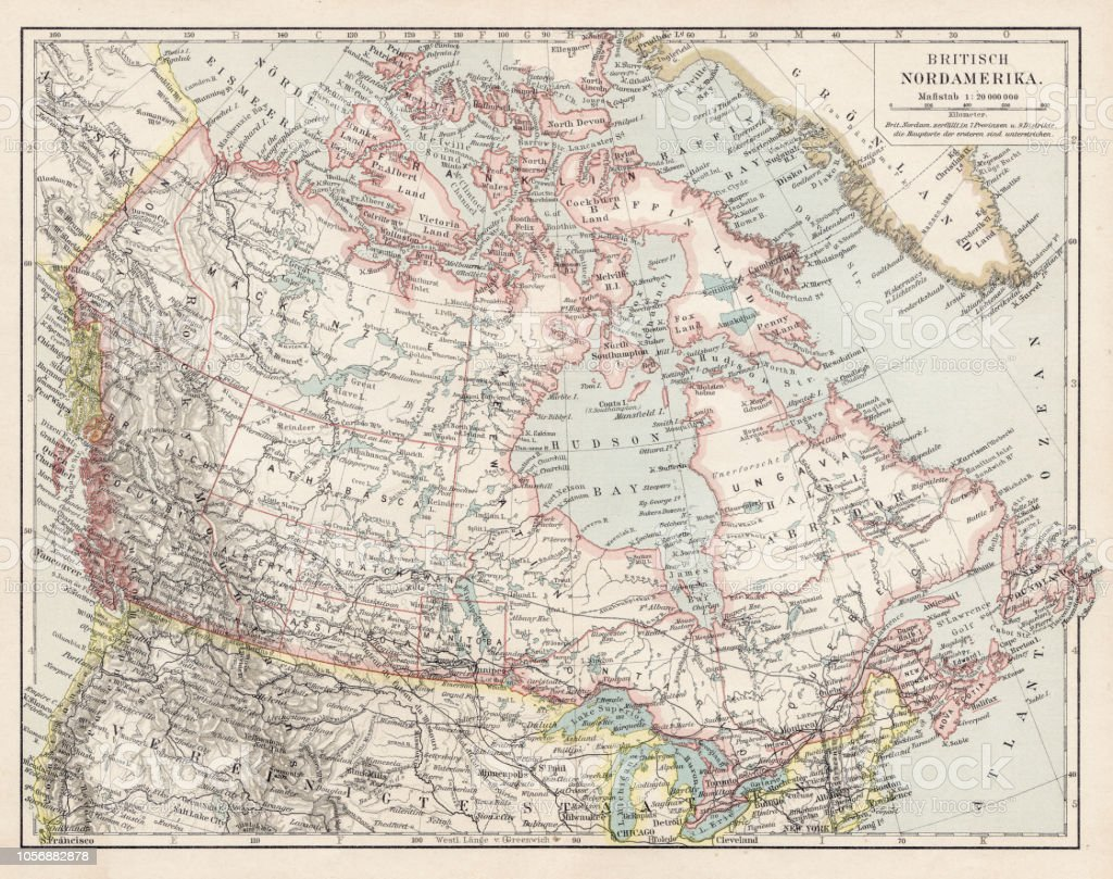 Map Of Canada 1900.Map Of British Canada 1900 Stock Illustration Download Image Now