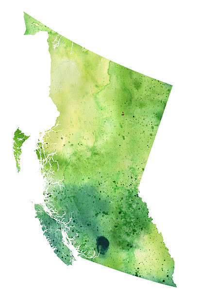 Map of British Columbia with Watercolor Texture - Raster Illustration vector art illustration