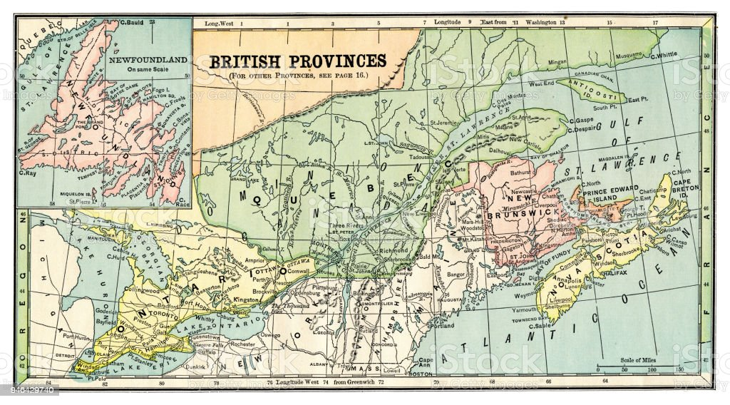 Map Of England Provinces.Map Of British Provinces Canada 1889 Stock Illustration Download