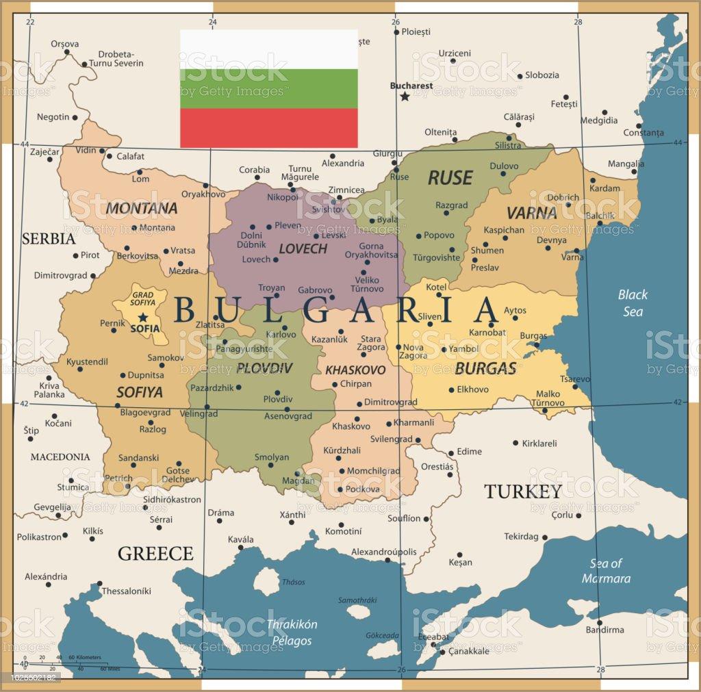 Karte Bulgarien.Karte Von Bulgarien Vintage Vector Stock Vektor Art Und Mehr