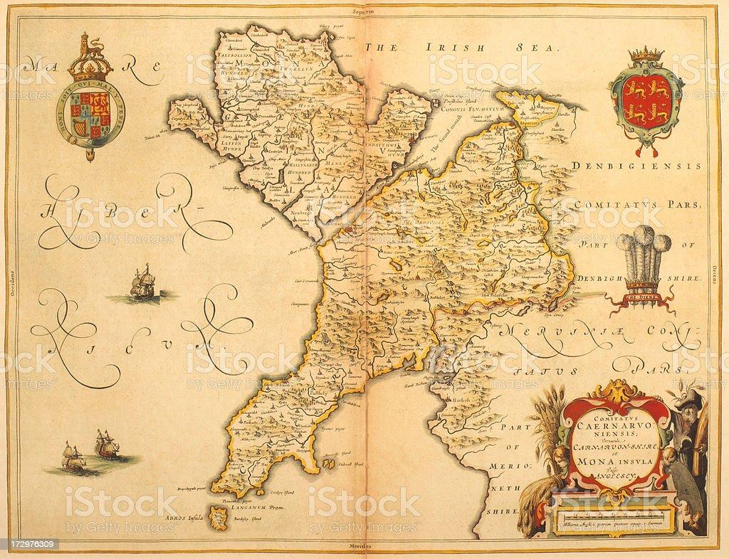 Map of Caernarfonshire 1635 vector art illustration