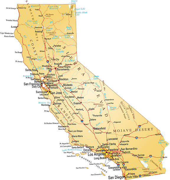 "map of california ""vector illustration of map of california with major roads, lakes and rivers."" california map stock illustrations"