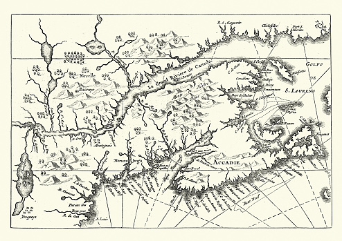 Vintage engraving of Map of Canada and Nova Scotia, 17th Century