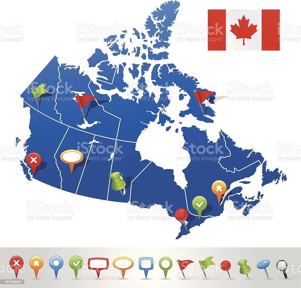 Map of Canada with navigation icons royalty-free stock vector art
