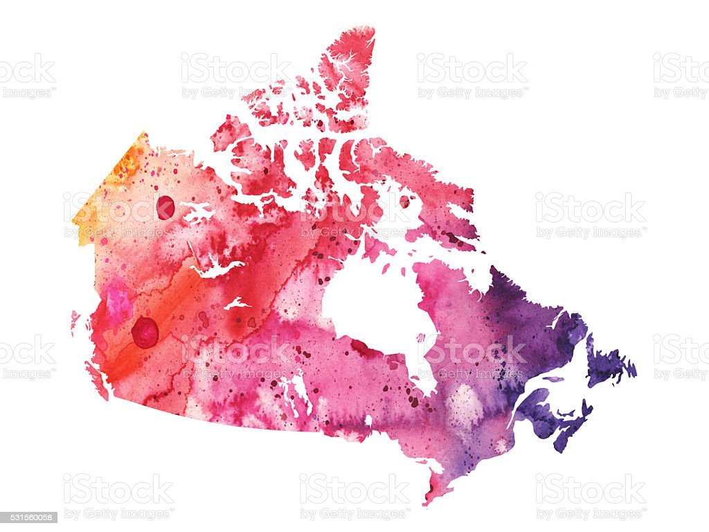 Map of Canada with Watercolor Texture - Raster Illustration vector art illustration