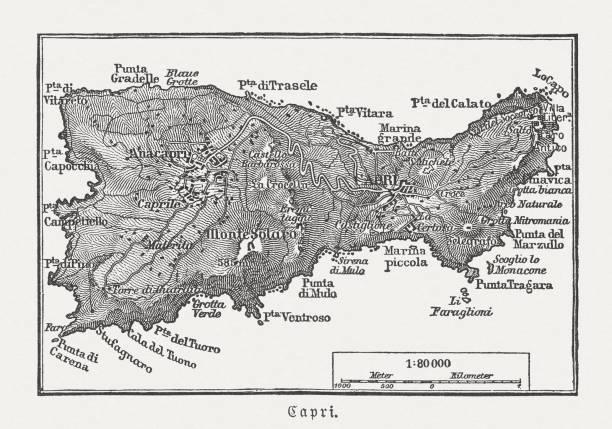 illustrazioni stock, clip art, cartoni animati e icone di tendenza di map of capri, italian island, wood engraving published in 1897 - capri