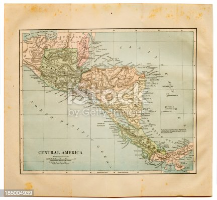 stained map of central america with original edges borders (1884)