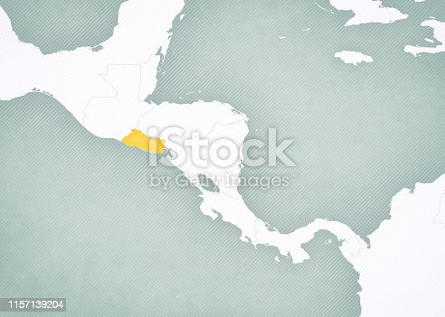 El Salvador on the map of Central America with softly striped vintage background.