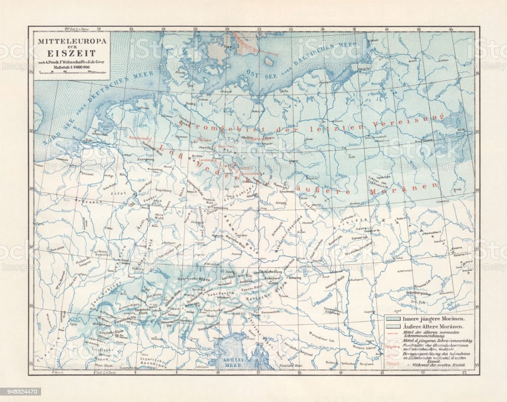 Map Of Central Europe During The Ice Age Published 1897 Stock Vector