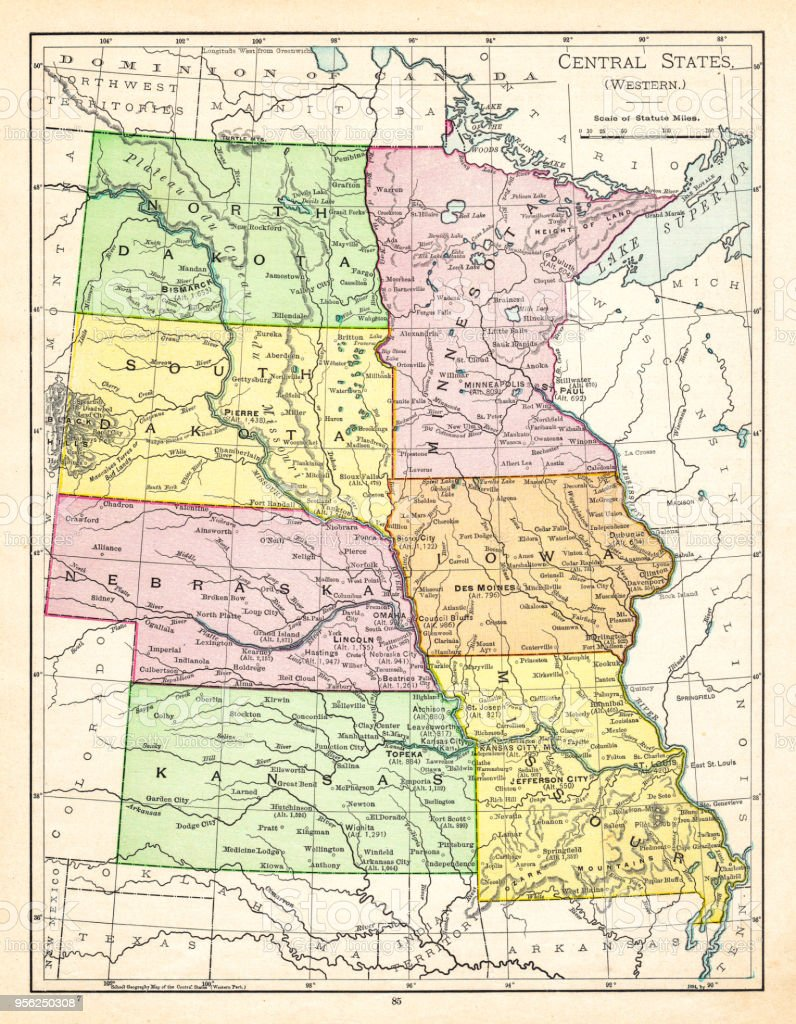 Map Of Central States Usa 1895 Stock Illustration - Download Image Central States In Usa on