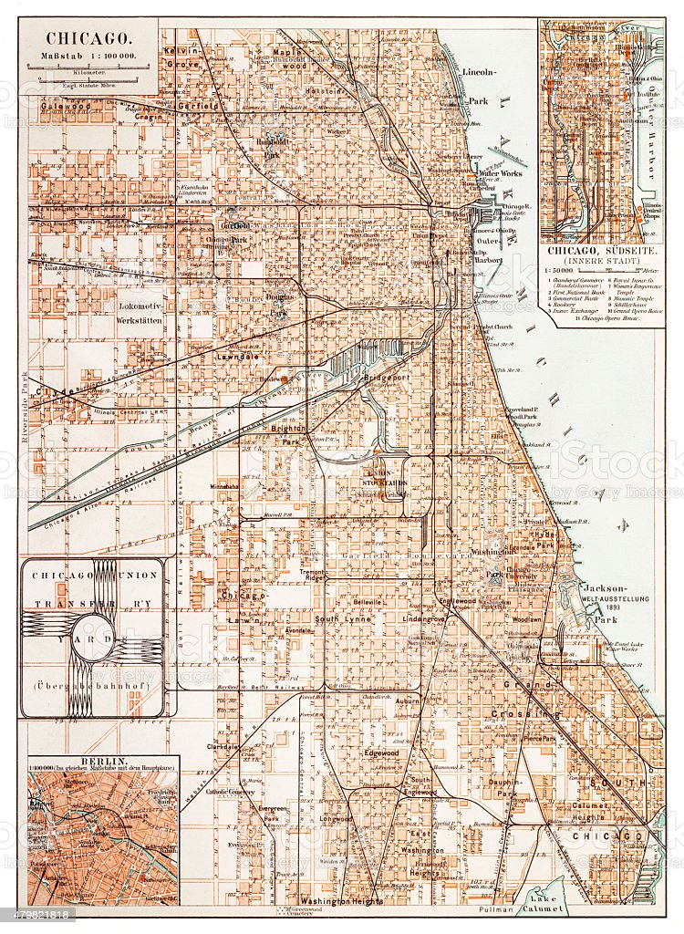Map Of Chicago 1895 Stock Vector Art & More Images of 1880-1889 ...