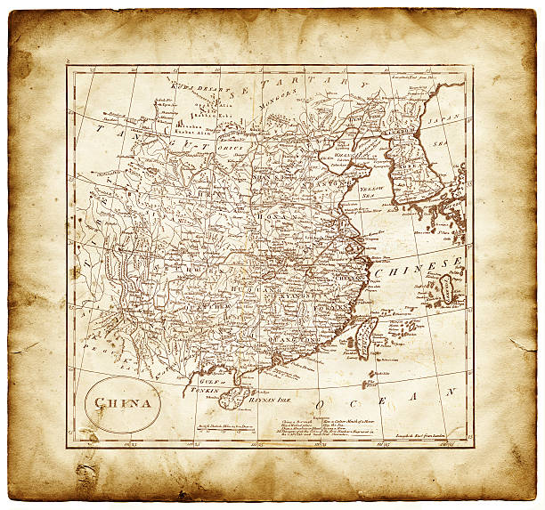 map of china 1800 antique map of china 1800 - combined with a couple of old paper textures american pekin duck stock illustrations