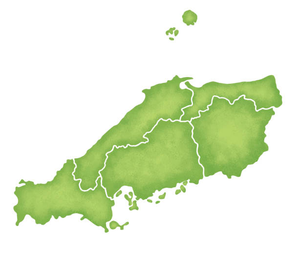 batı bölgesi, japonya haritası - hiroshima stock illustrations