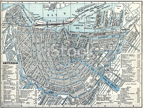 Map of city Amsterdam Netherlands from 1881 Original edition from my own archives Source : Illustriertes Konversations Lexikon 1881