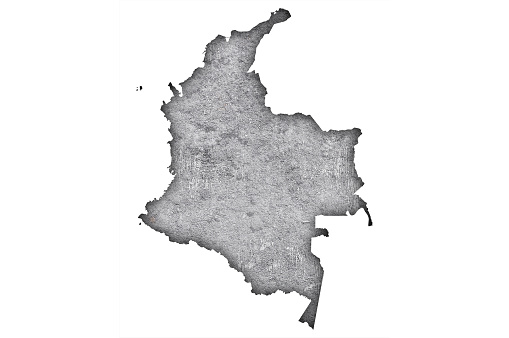 Map of Colombia on weathered concrete,