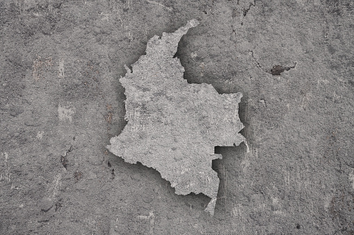 Map of Colombia on weathered concrete