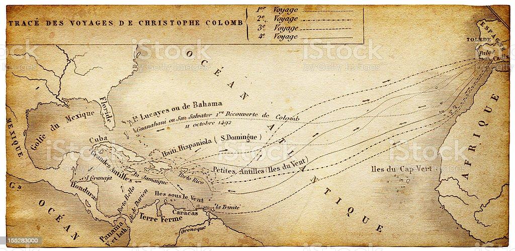 map of Columbus trips vector art illustration