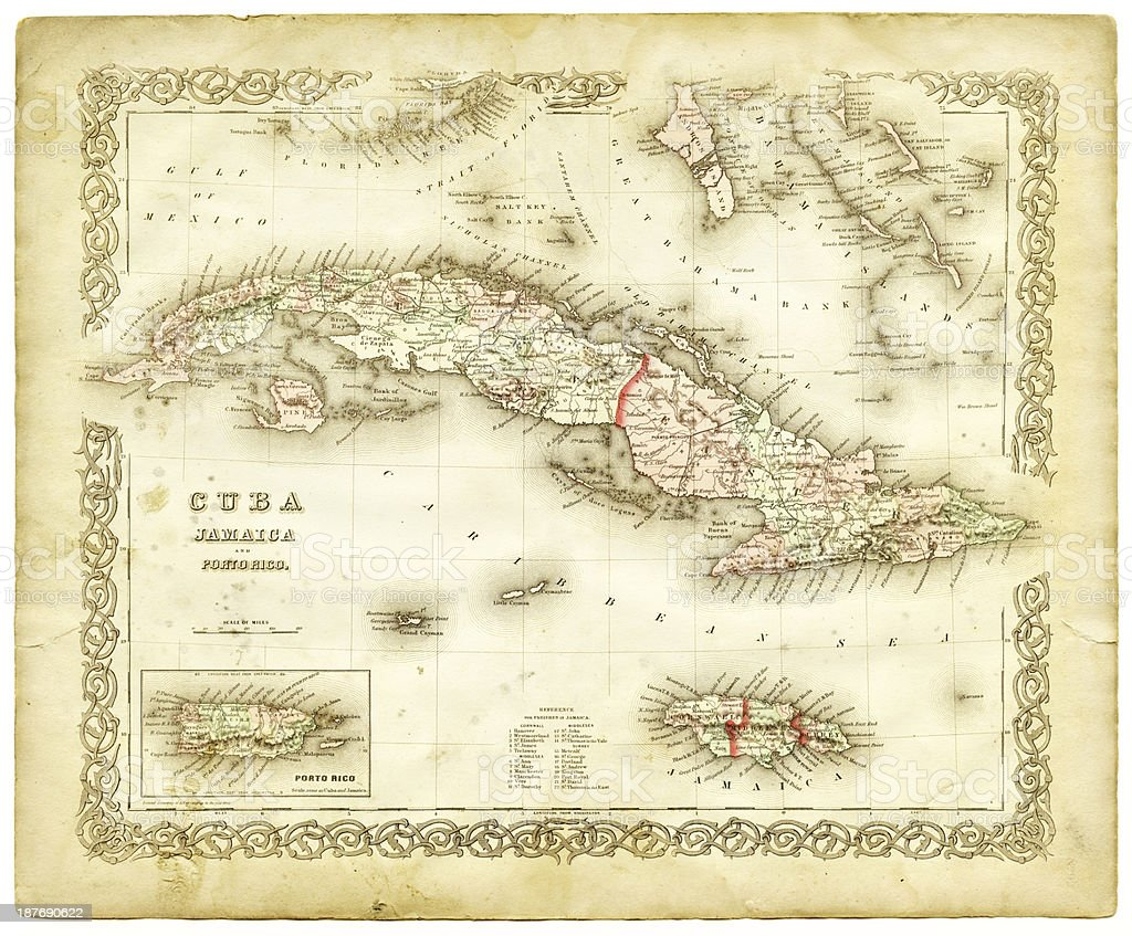 Map Of Florida Cuba And Puerto Rico.Map Of Cuba And Puerto Rico 1855 Stock Vector Art More Images Of