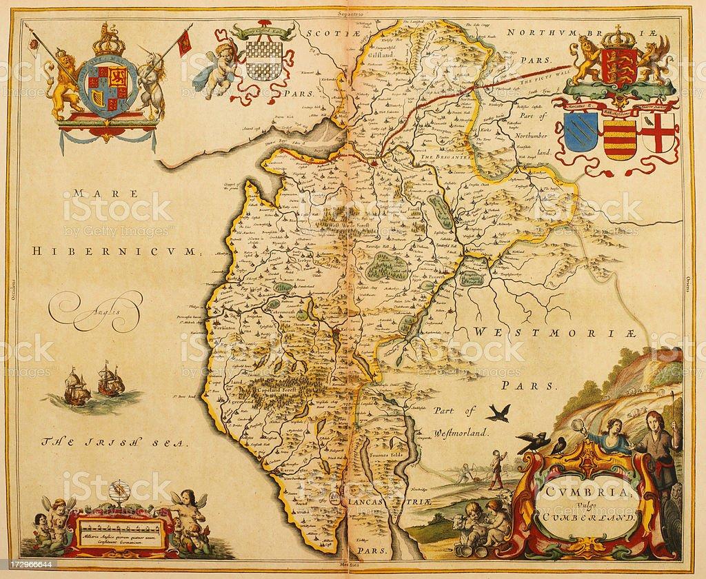 Map of Cumberland 1635 vector art illustration