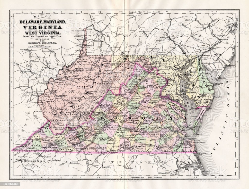 Map Of Delaware Maryland Virginia 1894 Stock Illustration - Download ...