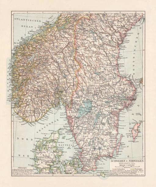 bildbanksillustrationer, clip art samt tecknat material och ikoner med karta över danmark, södra norge och södra sverige, litografi, 1897 - gothenburg