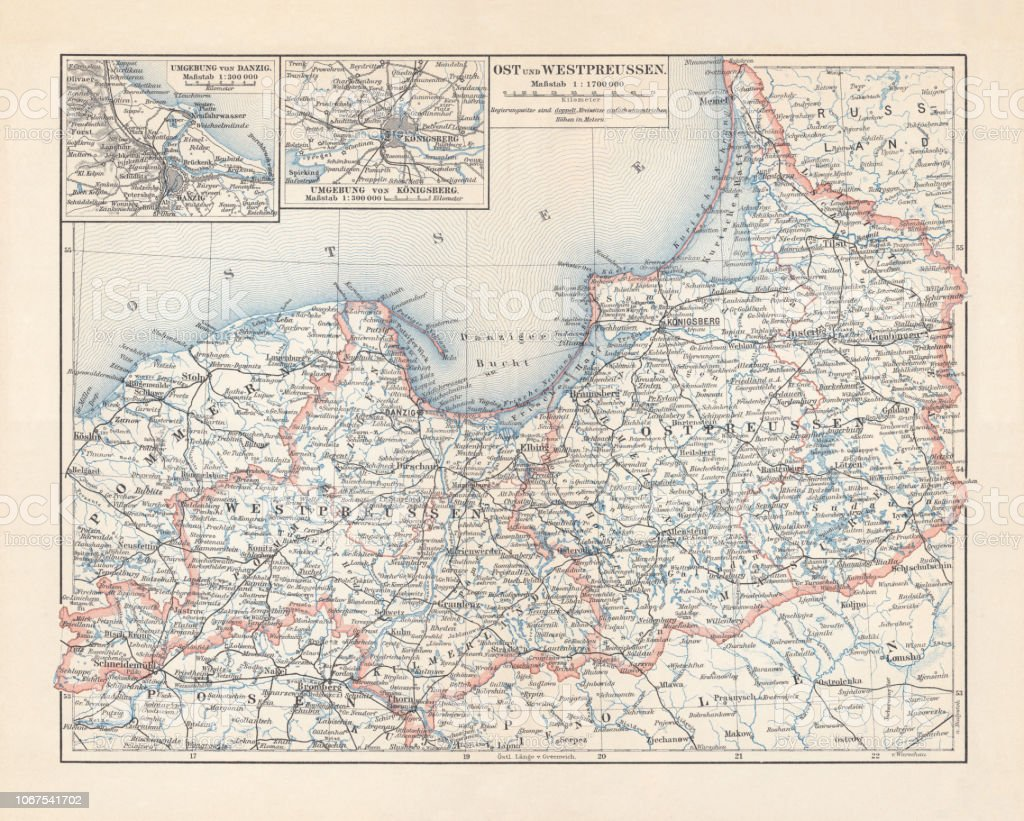 Map Of East And West Prussia Germany Lithograph Published ...