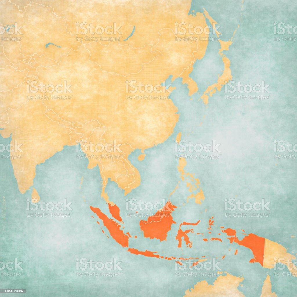 Carte Asie Indonesie.Carte De Lasie De Lest Indonesie Et Malaisie Vecteurs Libres